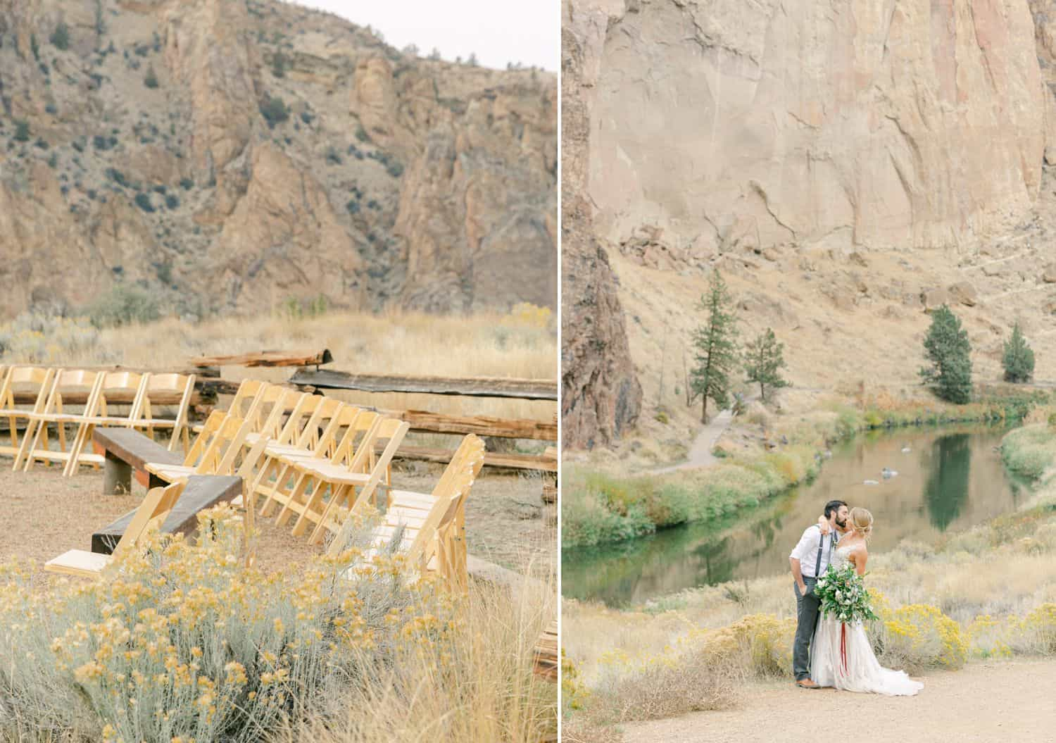 Empty rows of chairs overlook the elopement of a young couple getting married outside