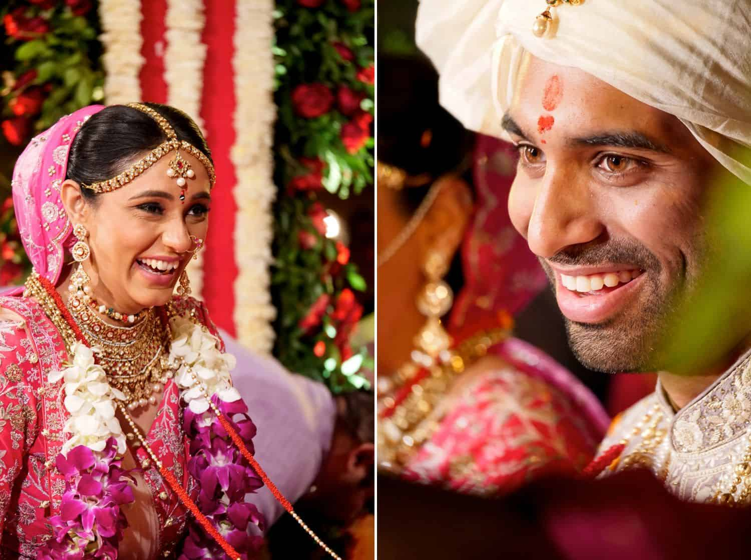 Candid photos of the bride and groom smiling at one another
