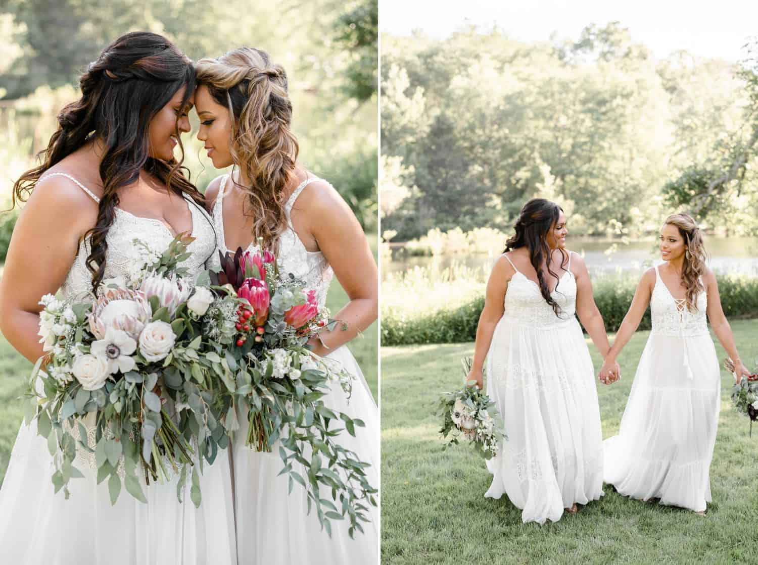 Wedding photos of brides resting their heads on each other and holding hands