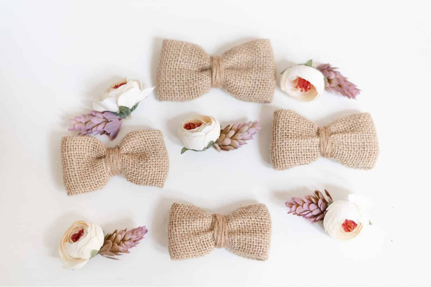 Wedding burlap bow ties and DIY boutonnieres