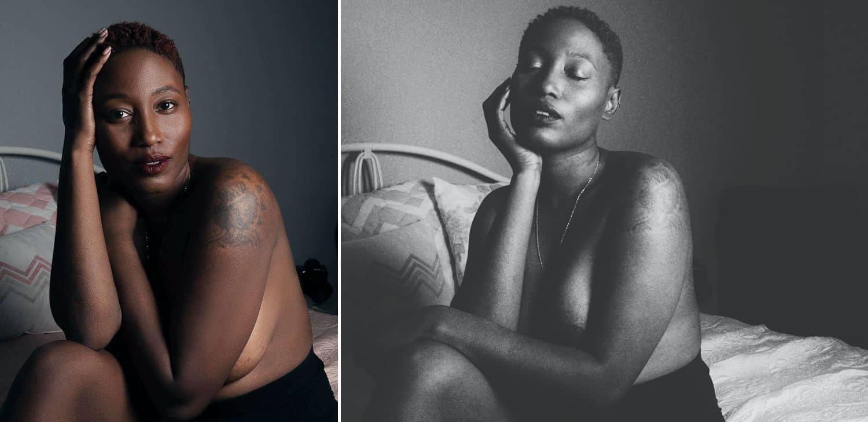 A series of two boudoir self-portraits by Toni Black