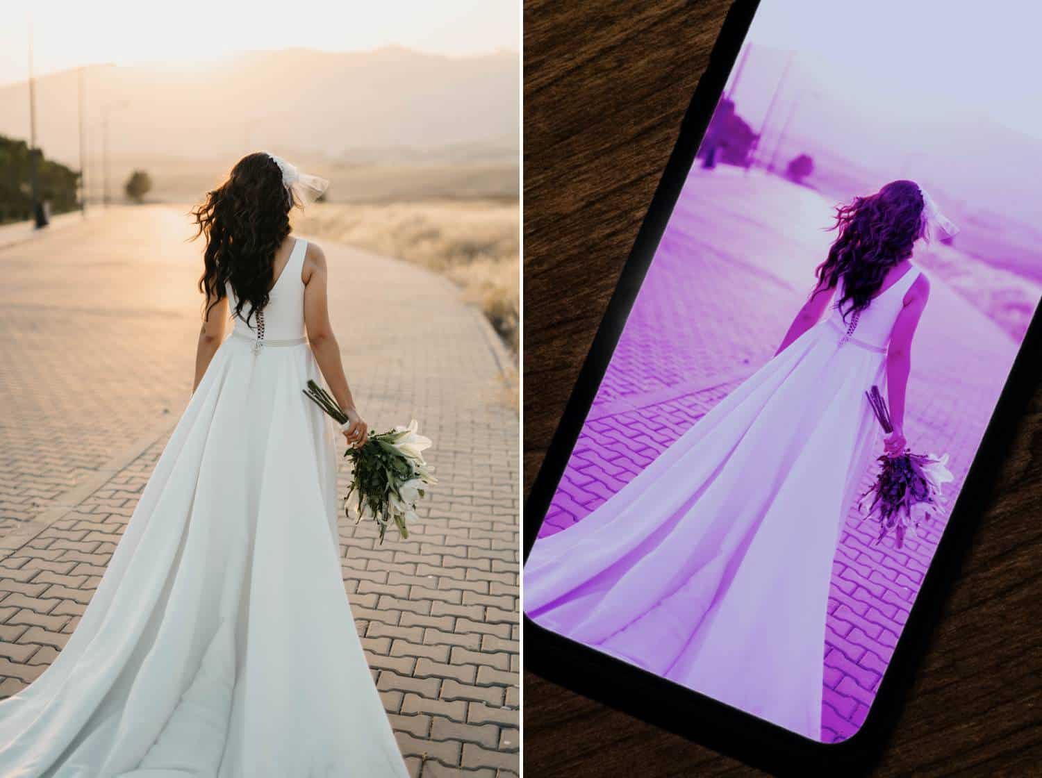 Two photos are displayed side-by-side. On the left is the original photograph of a bride photographed from behind. She is standing on a cobblestone street facing the warm mountain sunset while her dress billows behind her. In the second photo, the bride's image is displayed on an iPhone where it has been overlayed with a fushia filter.