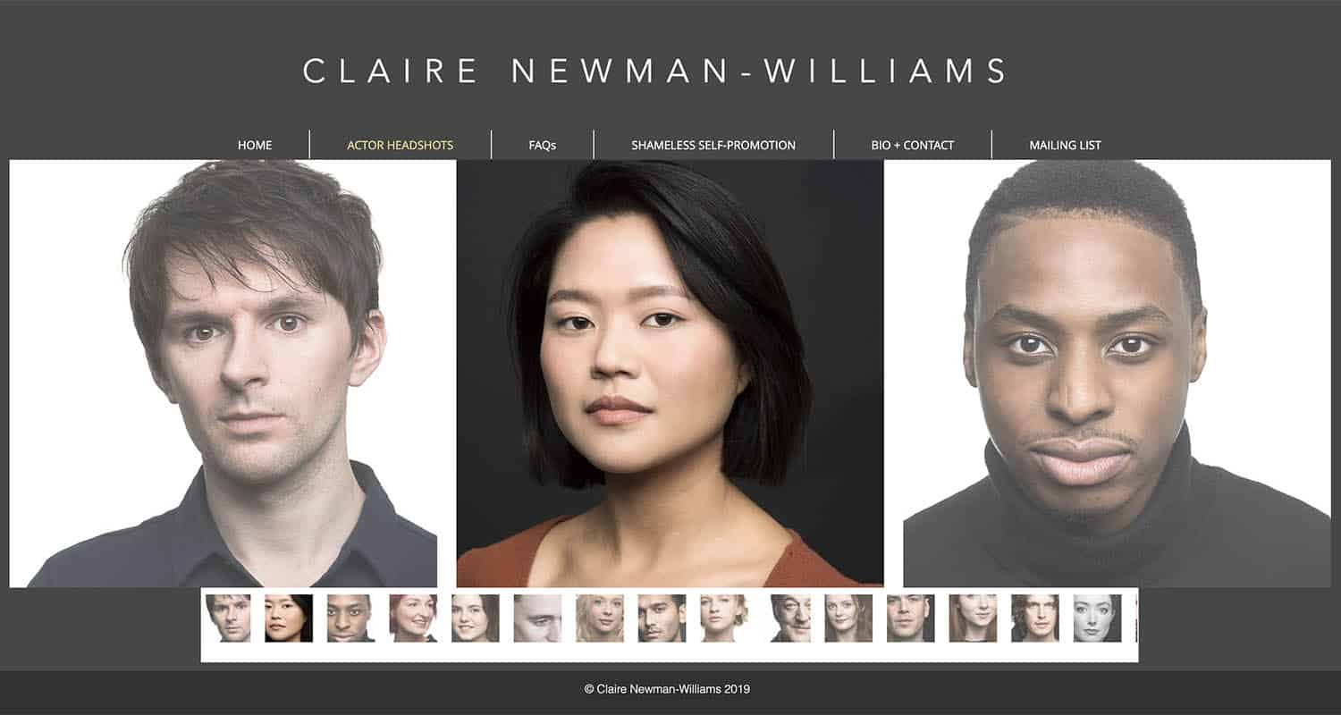 A series of headshots are showcased on a page of Claire Newman-Williams' website. On the left is a portrait of a Caucasian man. In the middle, an Asian woman's portrait is featured. And on the left, a Black man's photograph is shown.