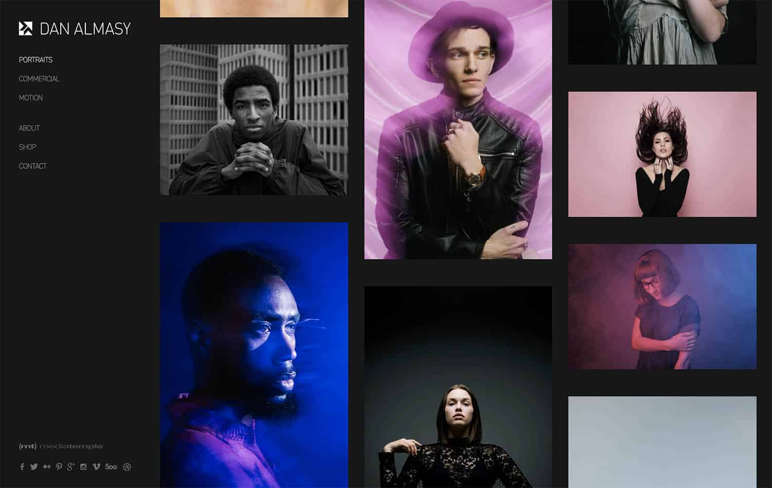 The Portraits portfolio on Dan Almasy's website is featured here. Six studio portraits are featured against a dark gray background along with Dan Almasy's logo.