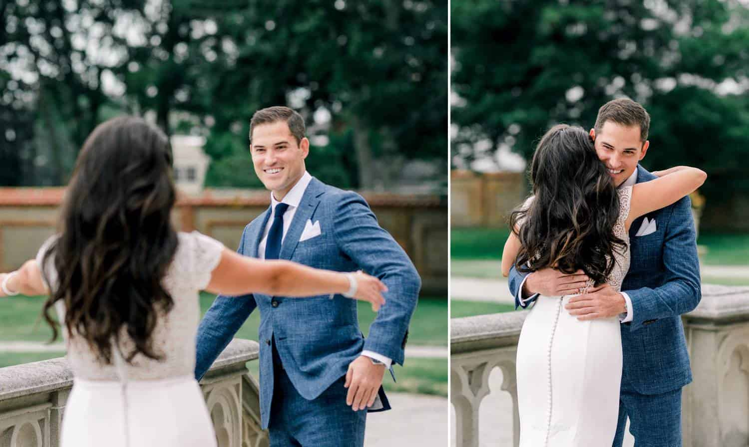 In two side-by-side photos, a bride walks up to a groom who is waiting for her outside, and they embrace.