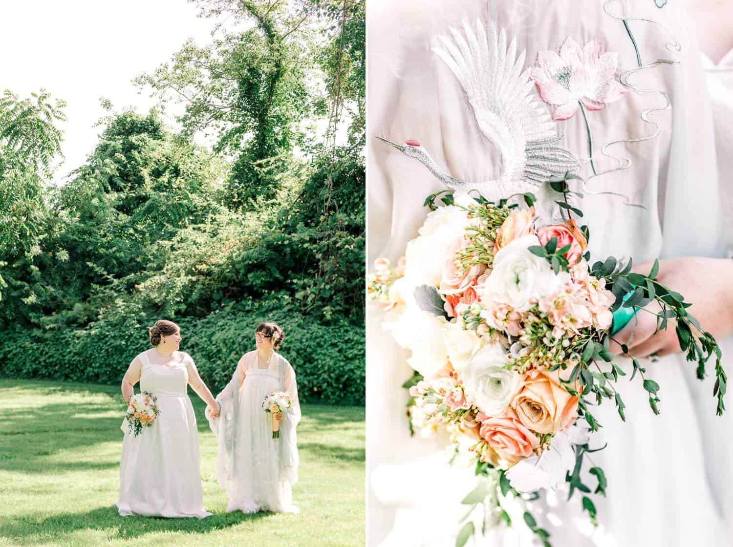 Two brides walk hand-in-hand across a shady lawn. In a second photo, a close-up of one bride's bouquet is depicted.