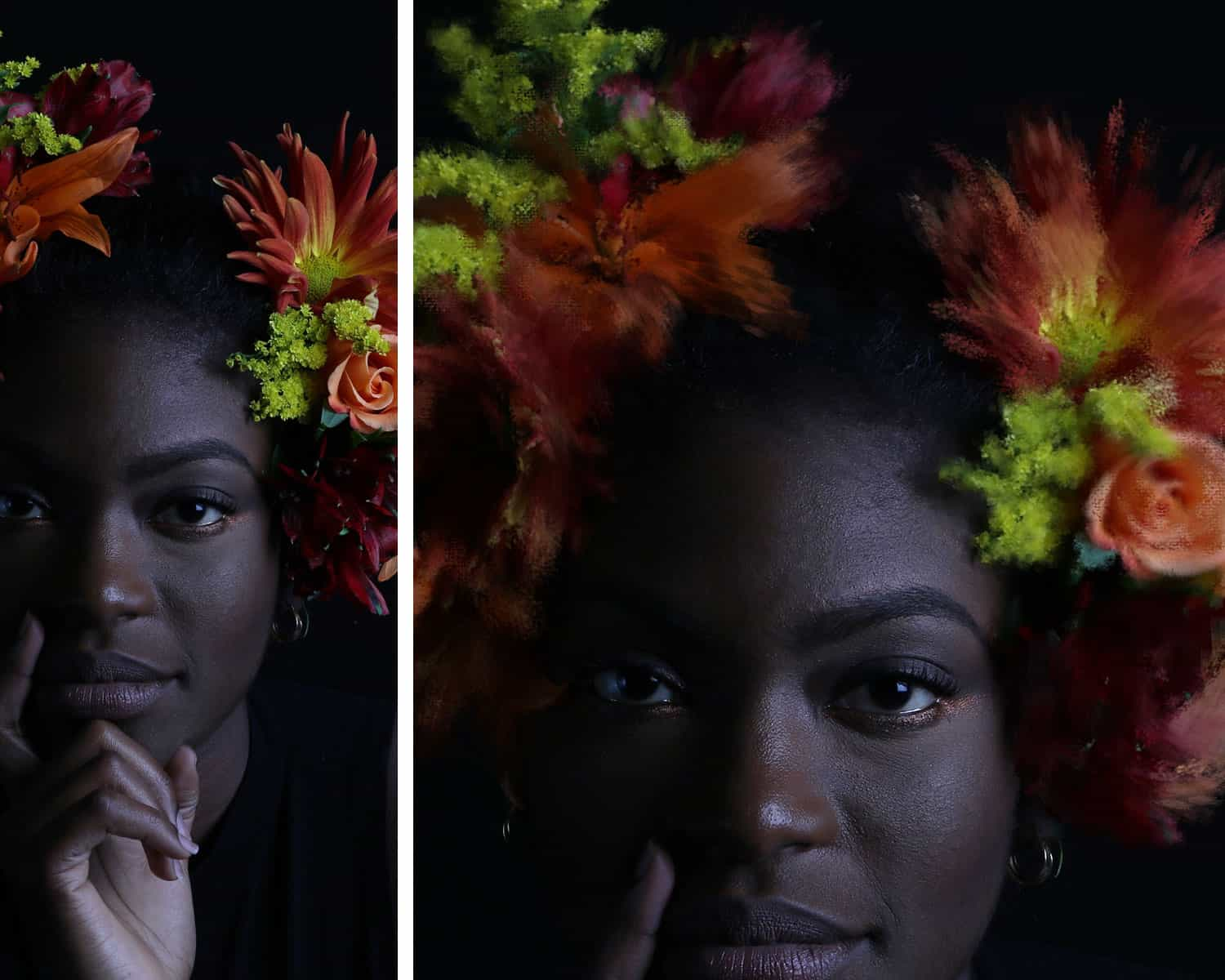 A Black woman poses for a moody headshot. She's wearing a flower crown that's been enhanced with an impressionist Photoshop brush.