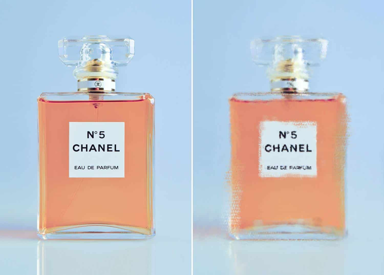 A photograph of a Chanel No. 5 bottle is depicted twice: once with no filter, and once with a Impressionist painting filter by Couture Design and Jessica Johnson