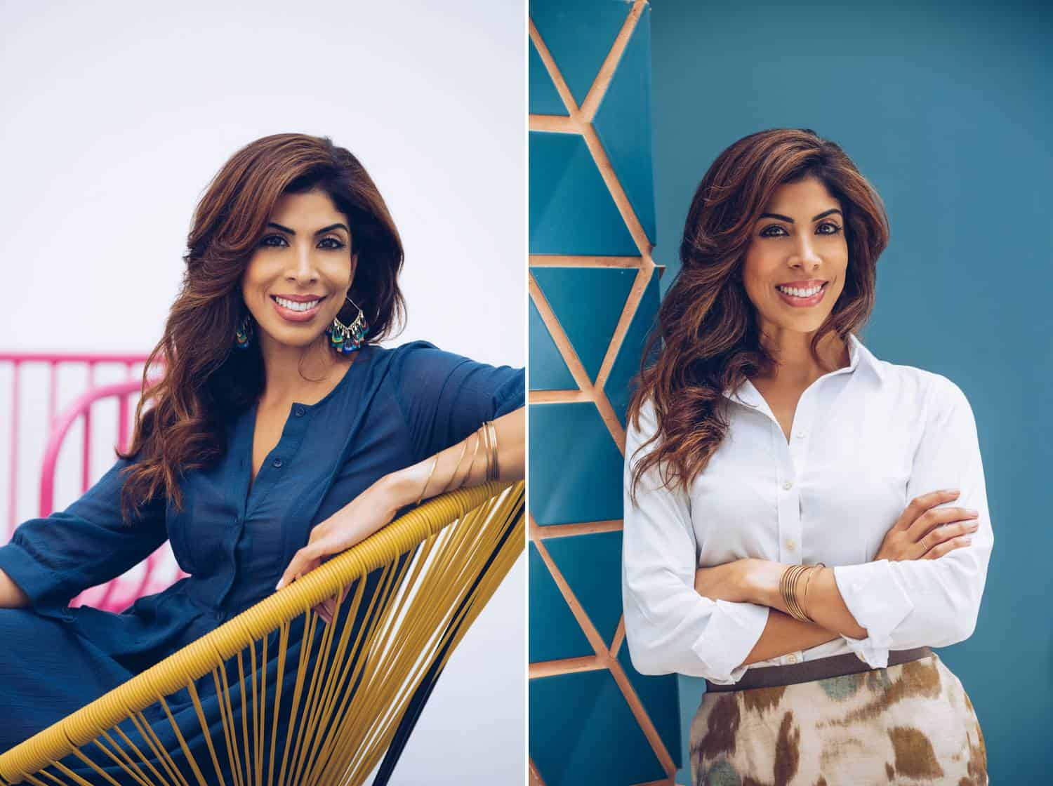 A Latinx woman poses for two headshots. In the left one, she sits in a rattan chair wearing a blue dress in front of a white background. In the second image, she's standing, wearing a white button-down shirt, and leaning against a teal blue wall decorated with gold geometric shapes. Both photos are by Lauren Alexis Rodriguez in Miami.
