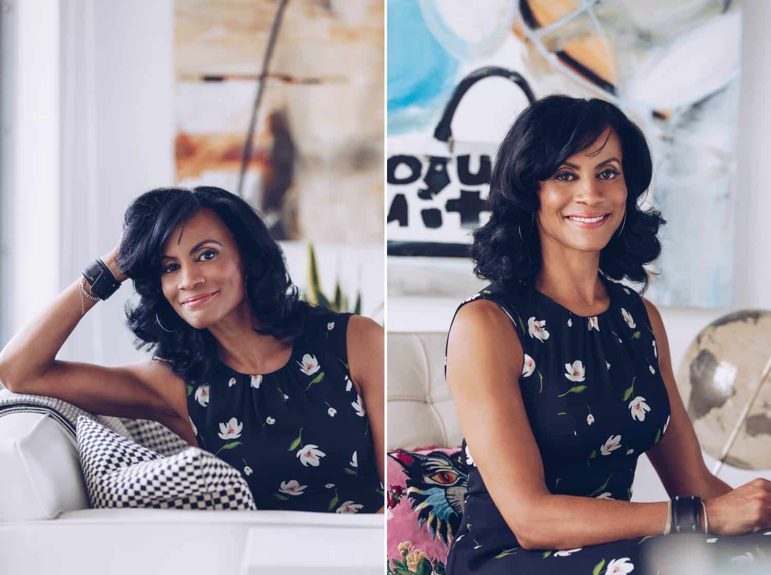 Two of Lauren Alexis' headshots are displayed side by side. In this series, a Latinx woman is photographed wearing a sleeveless, floral, navy blue dress. In the left image, she's sitting on a white leather couch with her elbow propped on the back of the sofa. In the right side image, she sits at a desk and appears prepared to work.