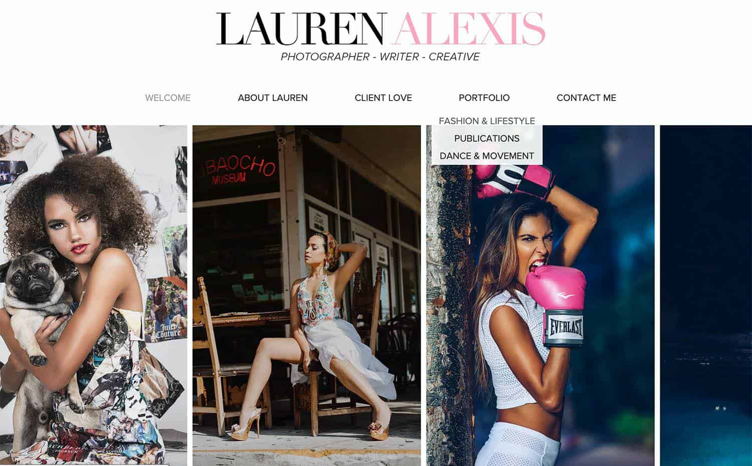 The homepage of Lauren Alexis Rodriguez's website is featured. Three fashion headshots are showcased against a white background below Lauren's logo.