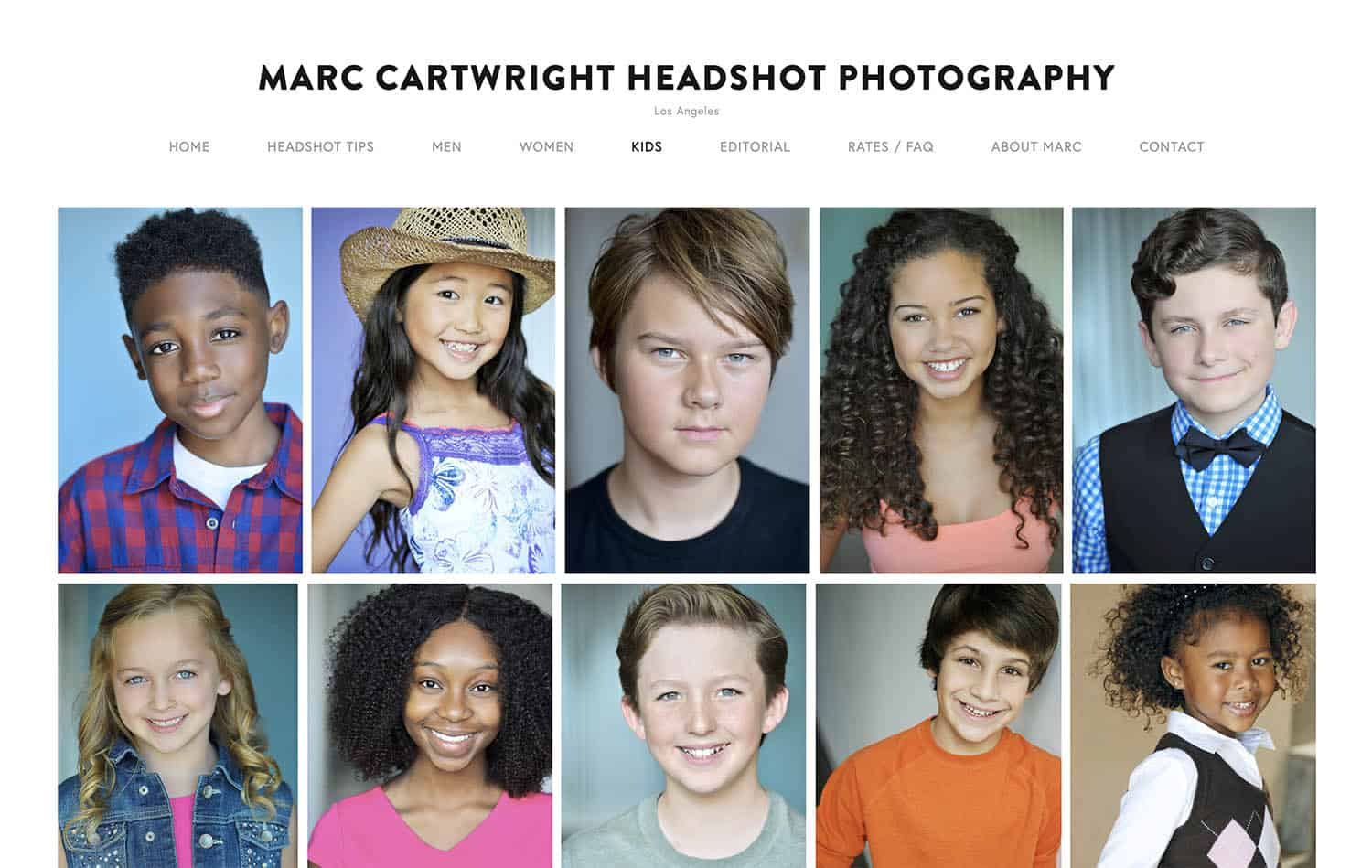 This page of Marc Cartwright's website showcases his kids' headshots. Ten close-up portraits of young people of varying ethnicities are featured below his logo.