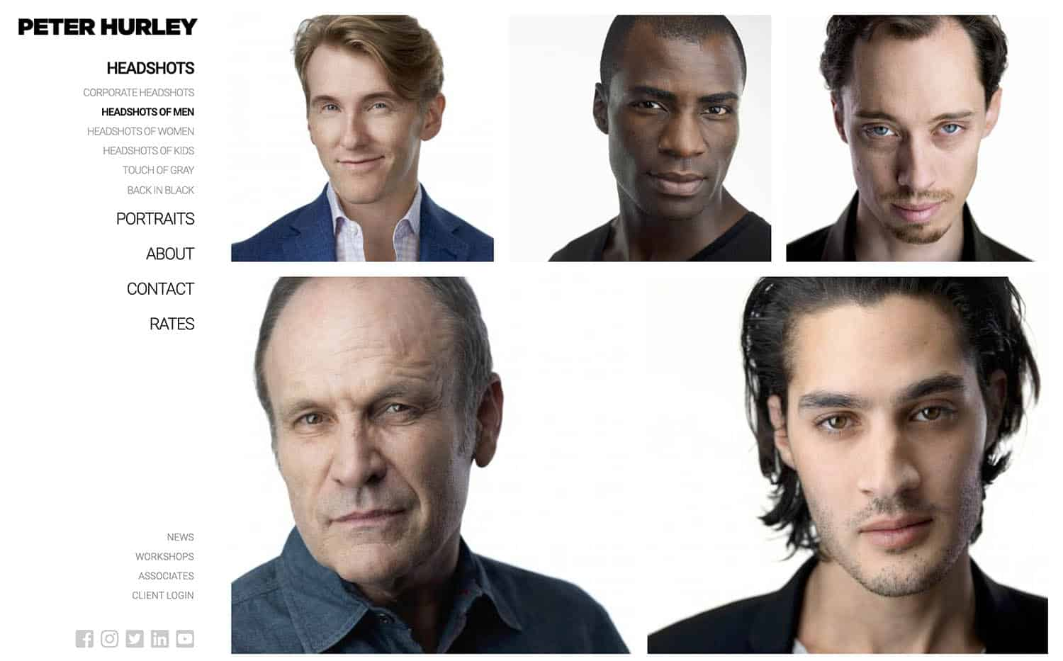 A page on Peter Hurley's website showcases headshots of men photographed in a studio against a white backdrop.