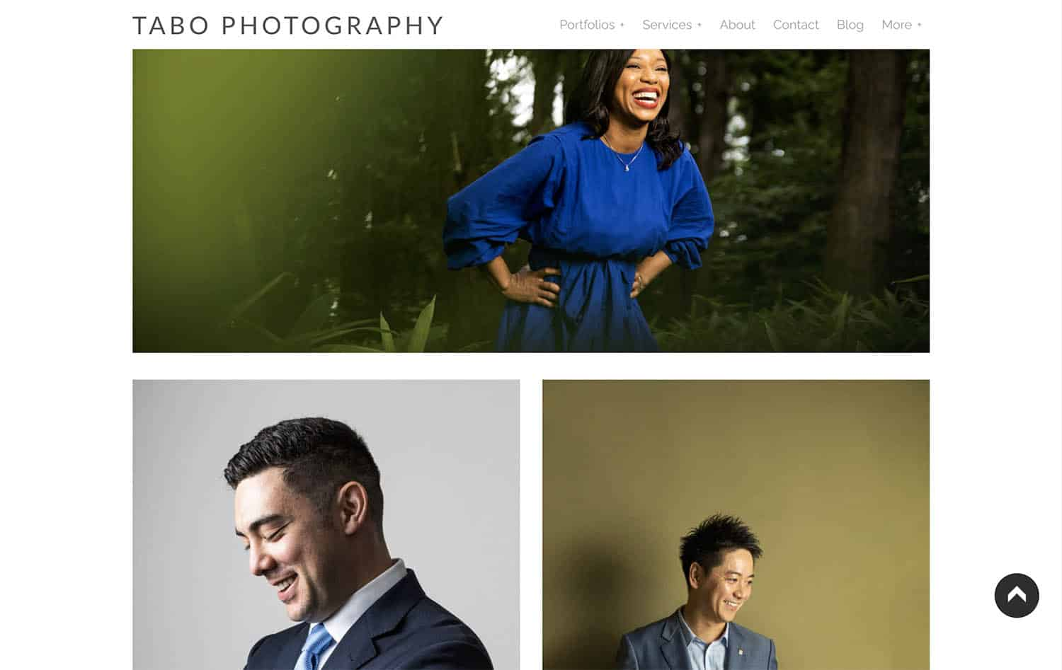 A page on Tabo Photography's website features an environmental portrait of a Black woman in a blue dress; a studio portrait of a white man in a suit; and another studio portrait of an Asian man in a suit.
