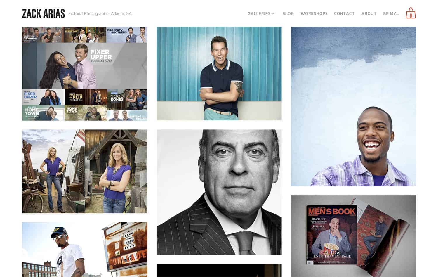 The Clients page on Zack Arias' website showcases a series of photographs he's made of corporate clients.