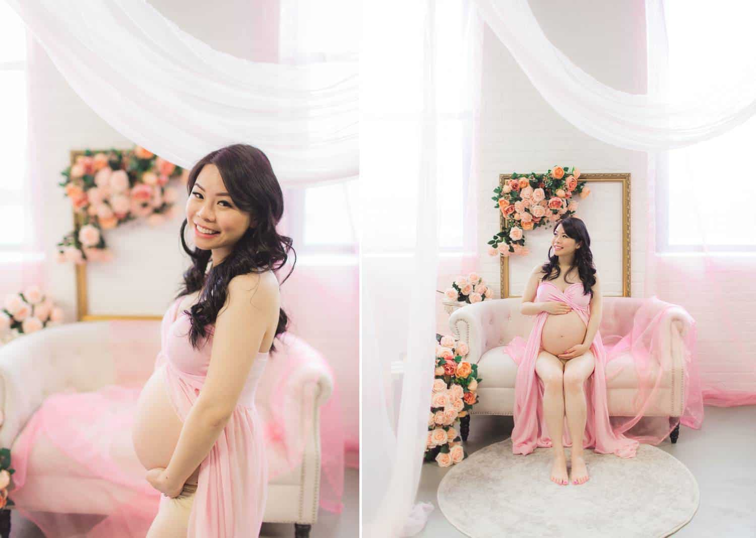 Side-by-side vertical portraits depict a young, Asian, pregnant woman wearing a semi-sheer, light pink dress in a pink-decorated bedroom adorned with flowers.