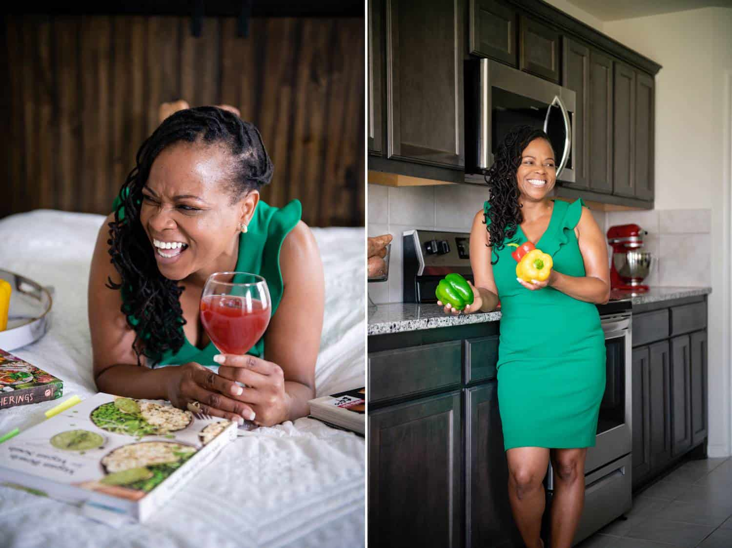 Two side-by-side photos depict a Black woman in a sleeveless, emerald green minidress. On the left, the woman lies on her stomach on a white bed holding a wine glass that contains a deep red fruit drink. She is laughing and looking through a magazine. On the right, th esame woman stands in a modern kitchen holding fresh peppers.