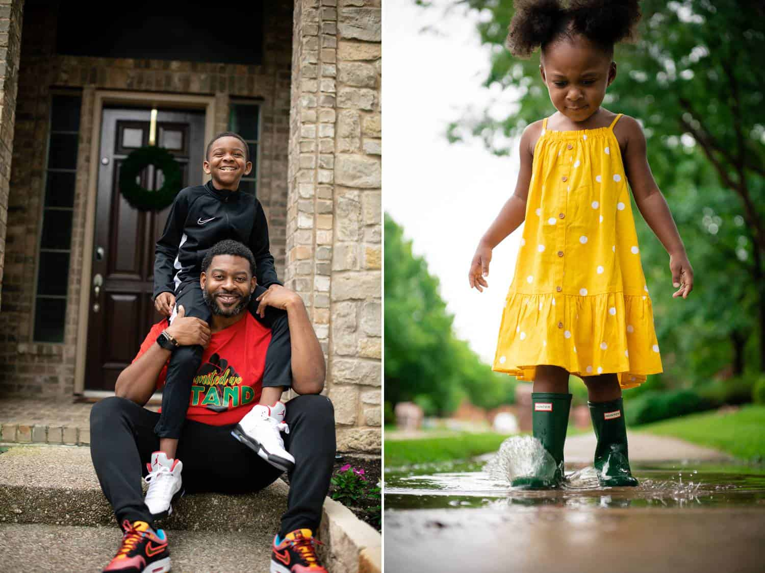 Two side-by-side photos show the daily interactions of a Black family. On the left, a little boy in a navy blue shirt sits on his dad's shoulders. The dad is seated on the front steps of the family's brick home. On the right, a little girl in a bright yellow dress splashes through a puddle in her green Hunter boots.