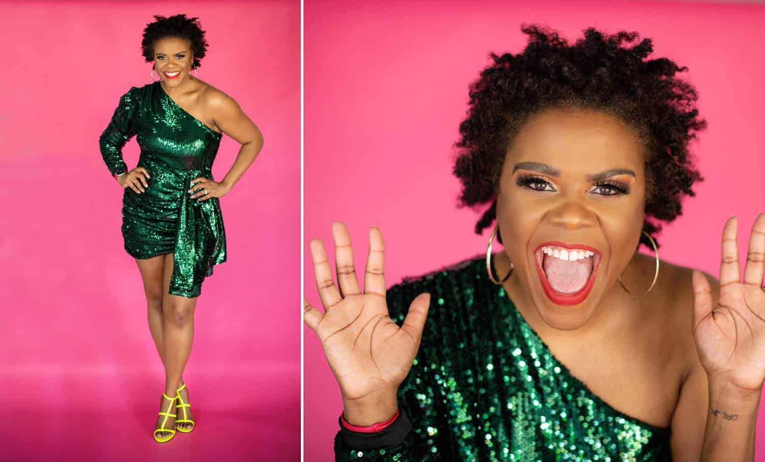Two self-portraits of LaJune King show the Frisco, Texas photographer in an emerald green, sequined mini dress posing on a hot pink backdrop.