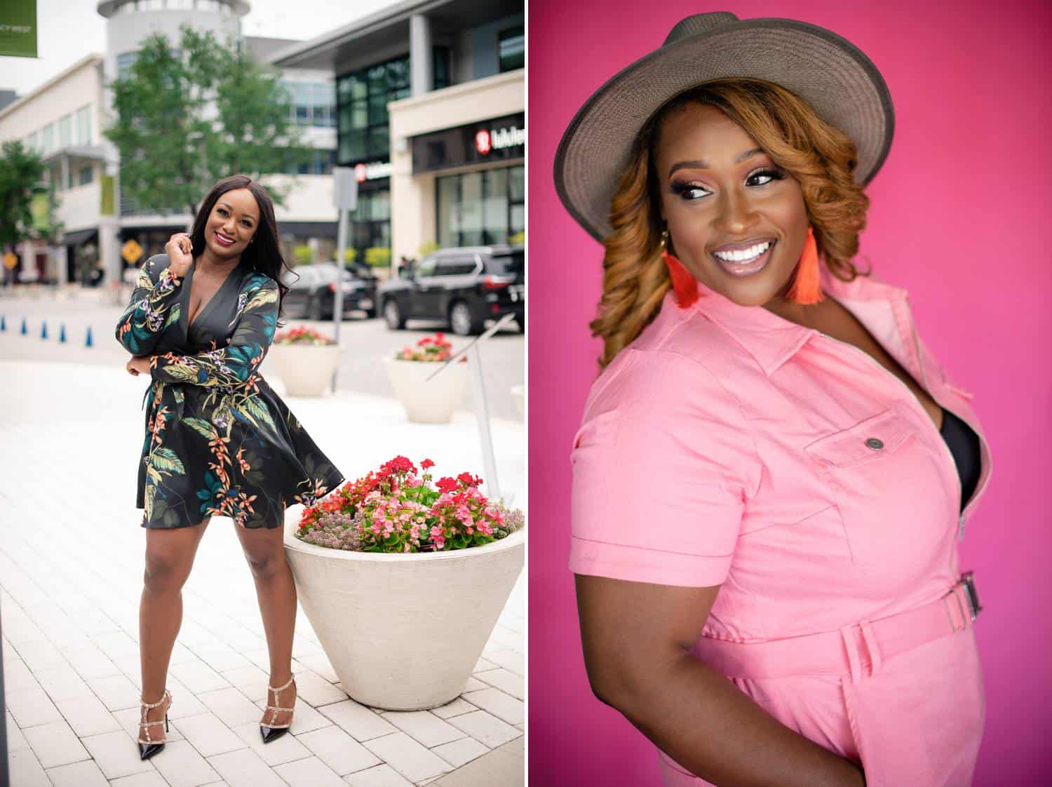 Two side-by-side photos depict professional Black women posing for their branding photos. On the left, a woman poses beside a large planter wearing a floral minidress. On the right, a woman with dark blonde hair and a gray hat poses before a hot pink studio backdrop wearing a bright pink shirt.