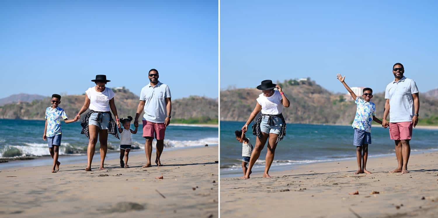 Two side-by-side portraits depict the same family strolling hand-in-hand on a sunny beach beside a deep blue ocean.