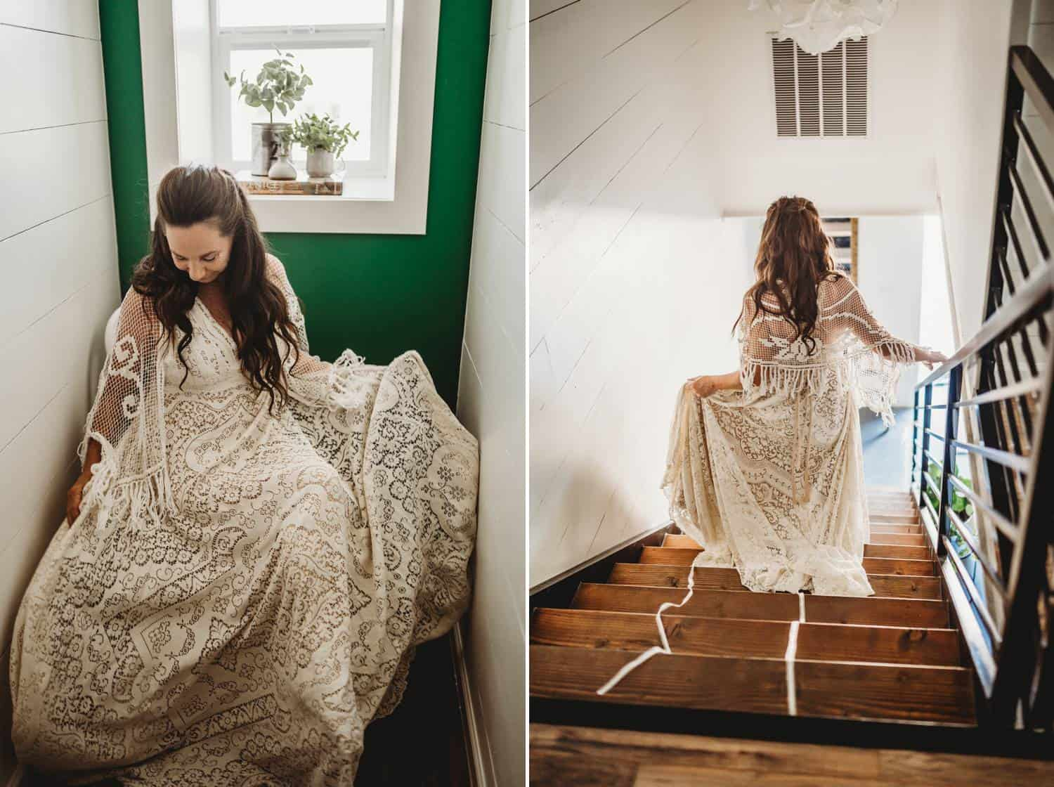 A bride twirls in her wedding dress in a brightly-lit room with a bright green wall. In another photo of the same bride, she's facing away from the camera as she walks down a wooden staircase.