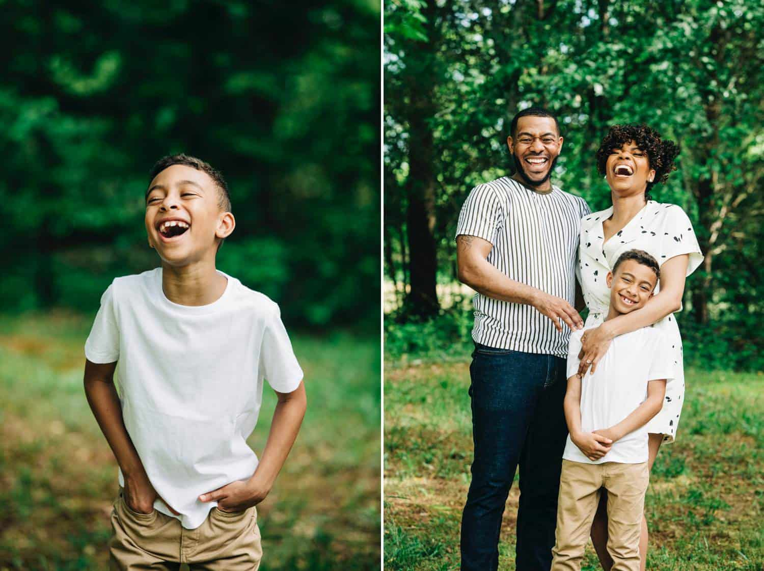 In the first of two family portraits, a little boy is wearing khakis and a white teeshirt. The forest behind him is blurry, with the focus entirely on his smiling face. In the second image, Dad, Mom, and Son all stand close together laughing for their outdoor portrait.