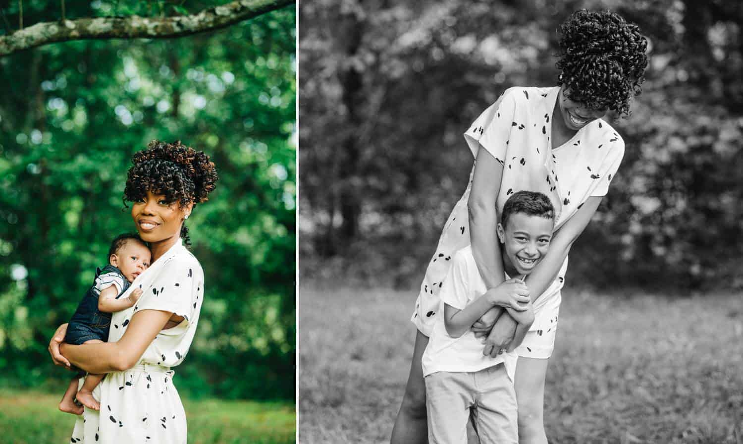 In photo one, a Black woman wearing a white romper holds her newborn baby close as they pose, smiling, for a colorful outdoor photo. In photo two, the same mother holds her older son in front of her with her arms wrapped around him as they both laugh.