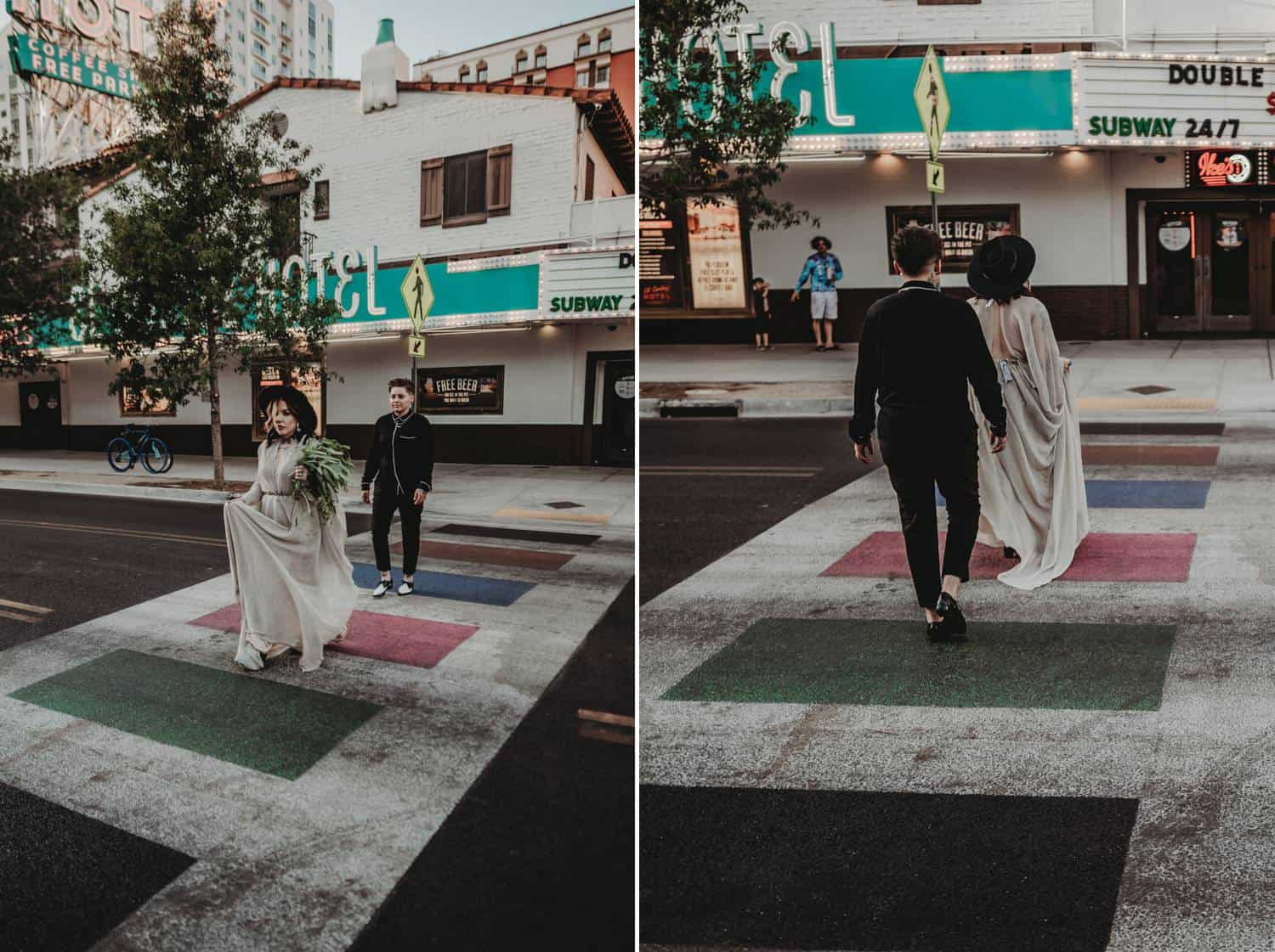 Two newlyweds walk across the street in Las Vegas using a crosswalk in this two-photo series