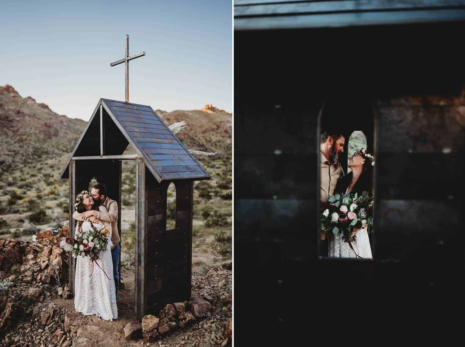 Two wedding photos are shown side by side. In the first one, a bride and groom cuddle close beneath the roof of a tiny wooden chapel in the mountains. In the second photo, the couple is photographed through the chapel's glassless window, where they look at each other lovingly.