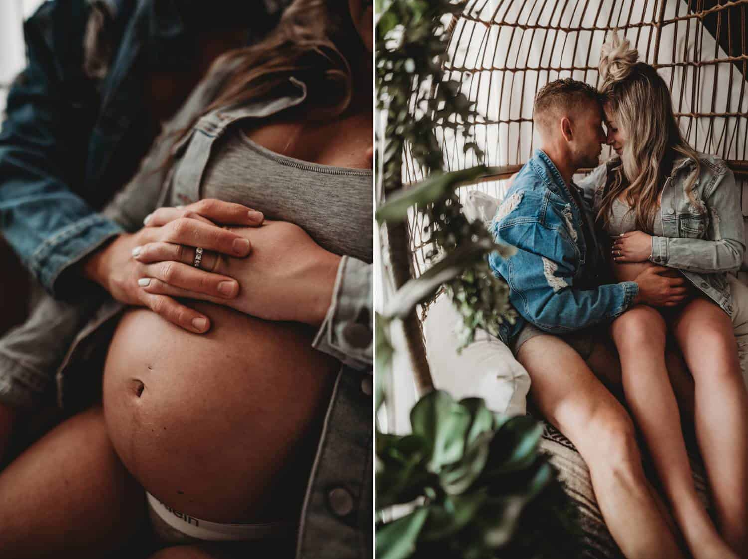 Two photos: the photo on the left is a close-up of a pregnant woman's belly. She's wearing white Calvin Klein underwear and a grey sports bra under a grey cardigan. The mother-to-be's partner holds her sitting in his lap where he rests his hand on her stomach. In the right-side photo, a wider shot of the same scene is taken, and you can see the oversize rattan chair that the couple is sitting in.