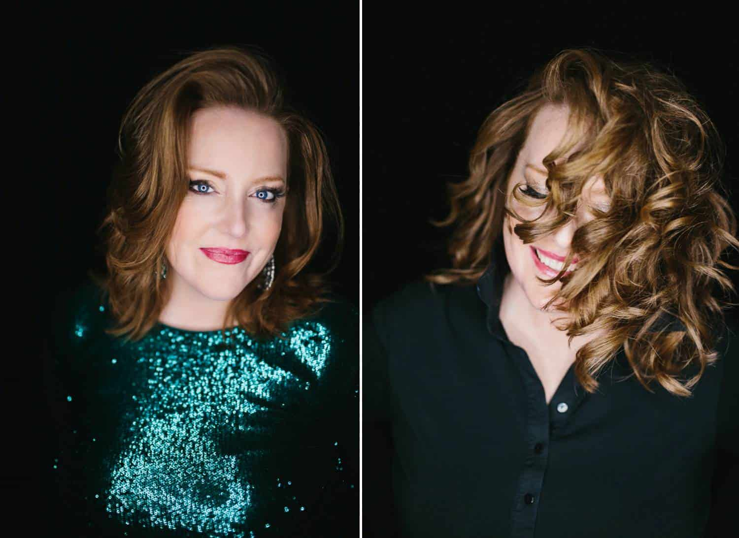 Two studio portraits depict the same woman with two looks. In the first looks, she's glamorously done-up with wavy hair and a green sequined dress. In the second shot, her hair is wildly curly and she wears a black cotton henley.
