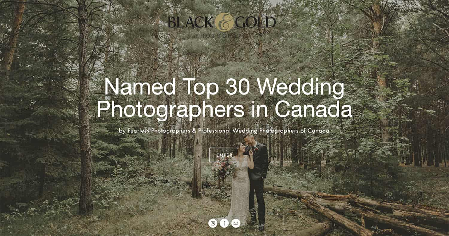 "The homepage of Black & Gold Photography's website displays a portrait of a wedding couple in a forest. A text overlay says, ""Name Top 30 Wedding Photographers in Canada."""
