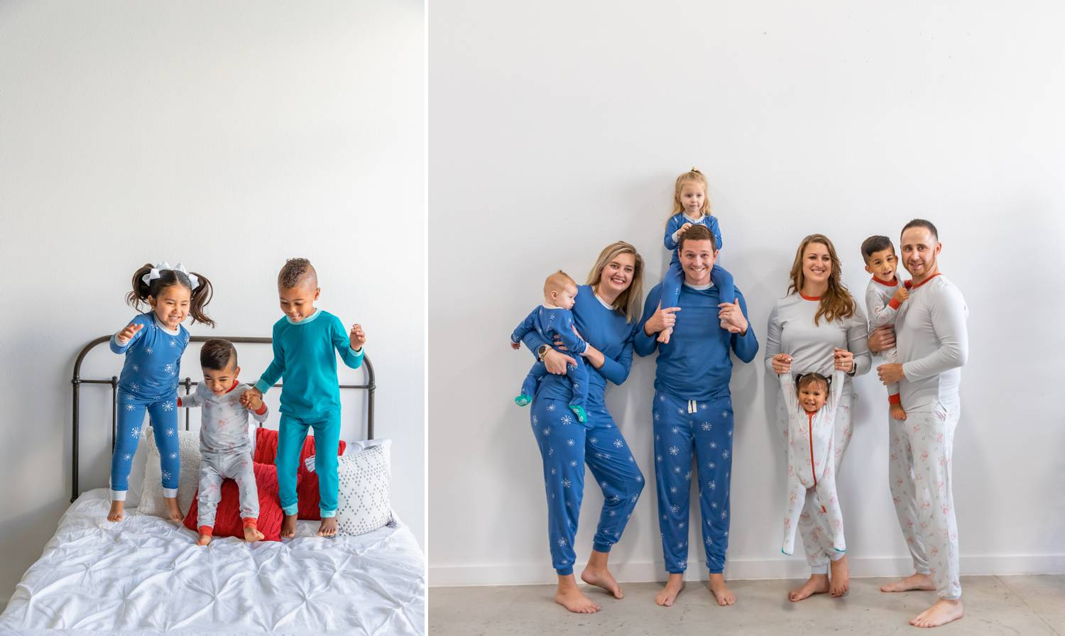 In two photos by Logan Fahey, people wearing pajamas are photographed in a whitewashed studio. In one photo, three PJ-wearing kids jump on a white-draped bed. In the second photo, a blue-wearing family and a silver-wearing family pose side-by-side against a white wall with their kids.Christmas Mini Session: Ideas Families will ADORE!