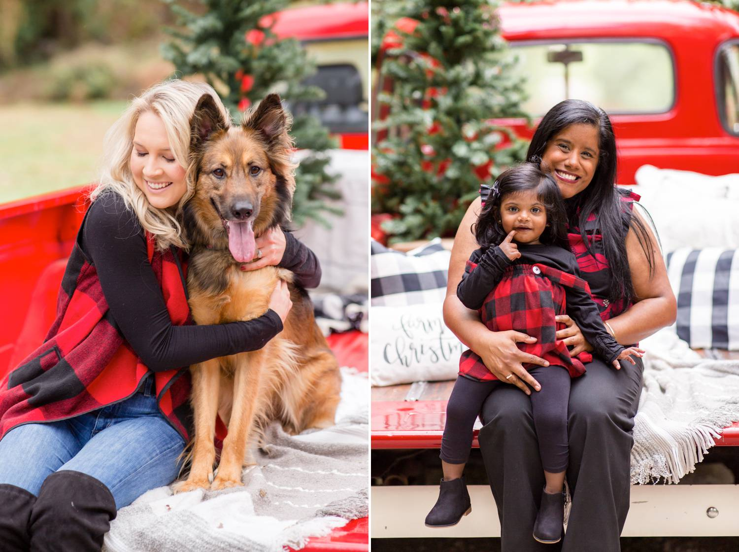 In two photos by Rebecca Rice, women sit on the back of a vintage red pickup truck. A Christmas tree sits in the truck bed behind them. In one photo, a blonde woman hugs her fluffy dog. In the other photo, a brunette woman of color holds her tiny daughter in her lap. Christmas Mini Session: Ideas Families will ADORE!