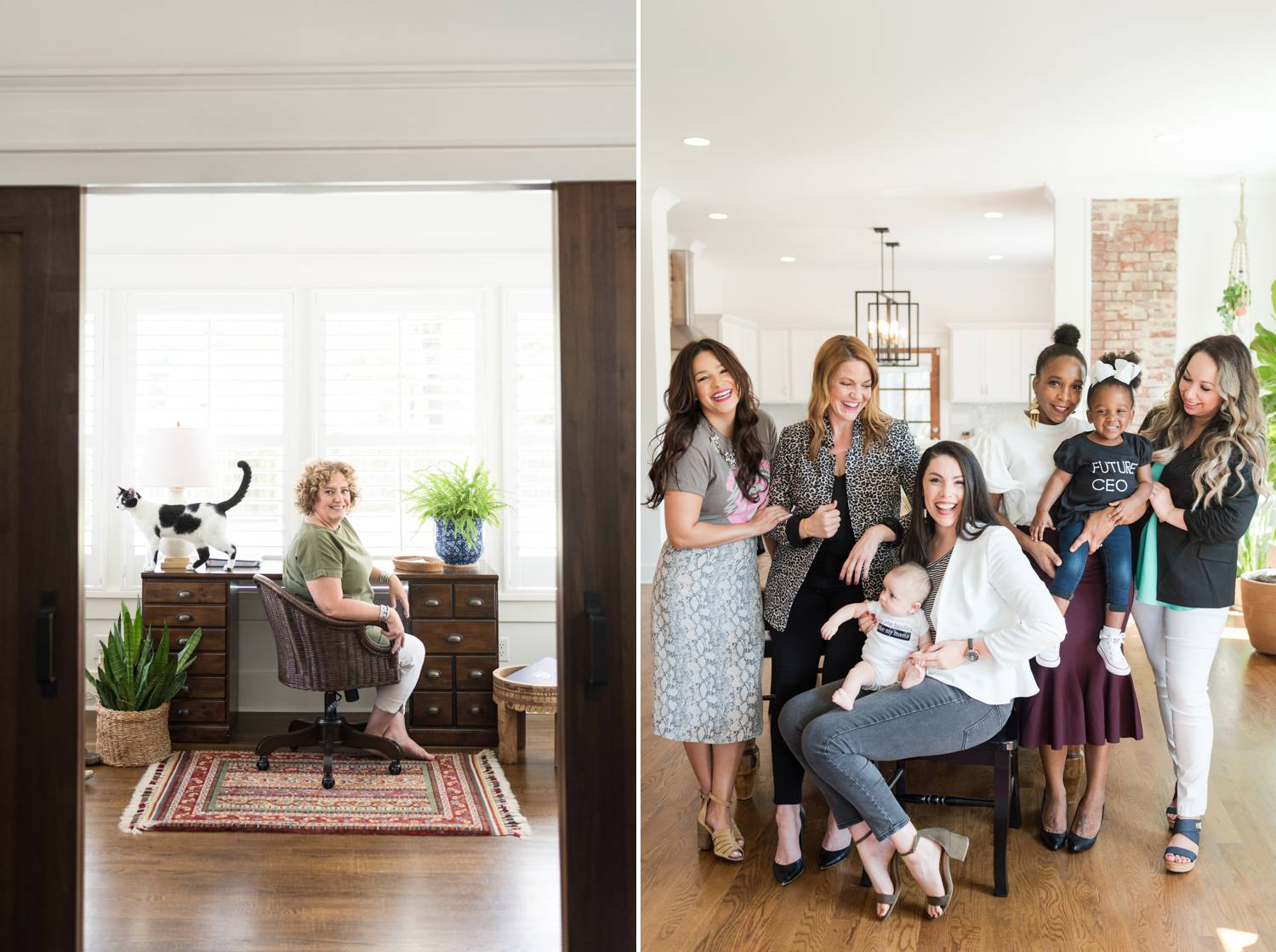 By Mandy Liz: In one photo, a woman sits at a desk framed by a large window. Her cat is standing on her desk. In another photo, a group of entrepreneurs gather together with two children to celebrate positive client feedback.