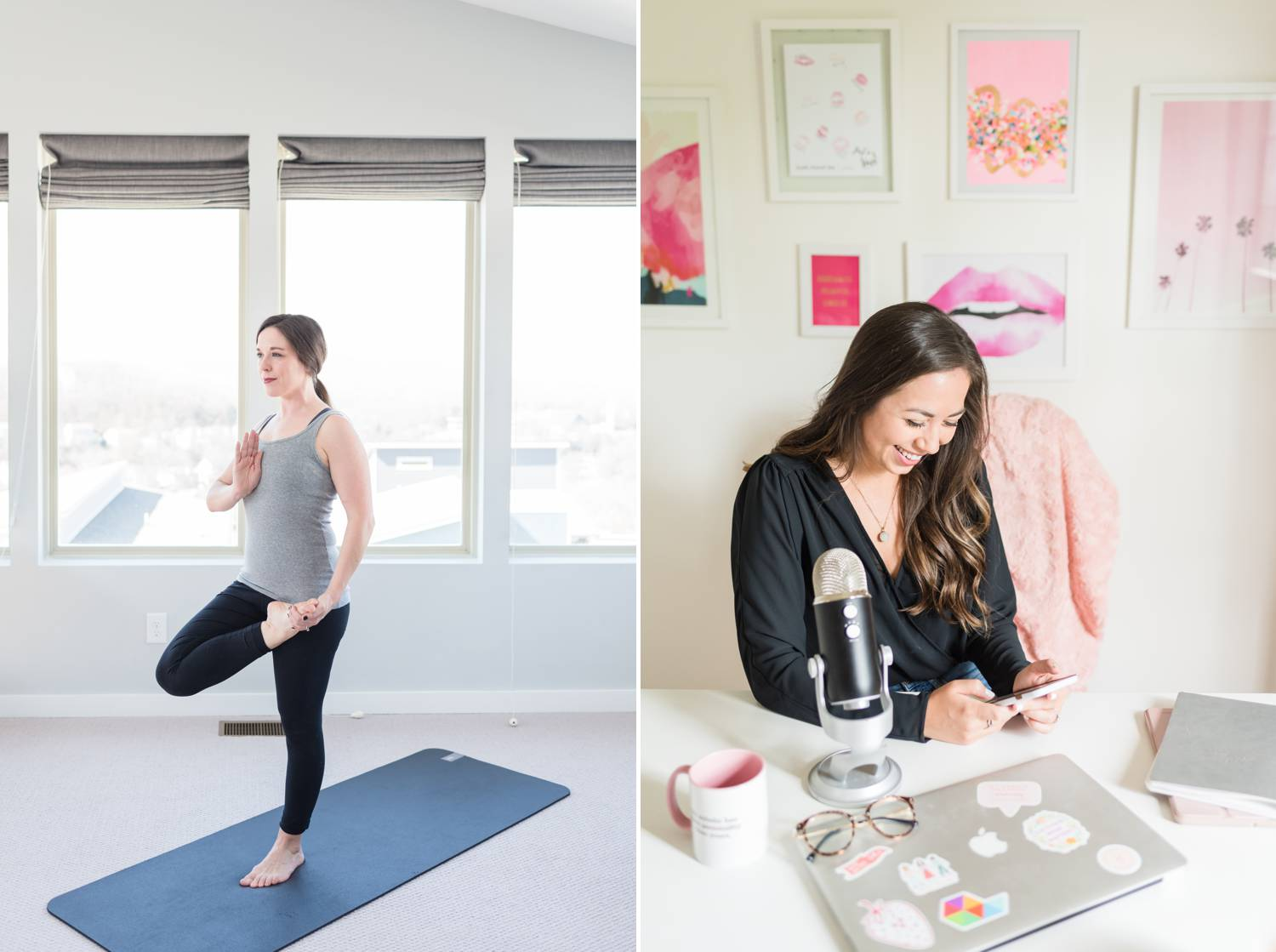 By Mandy Liz: In one photo, a woman poses on a yoga mat in a brightly lit room. In the next photo, a podcaster reviews client feedback on her phone.